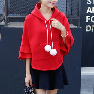 Winter Ruffle Fleece Hoodie Cape Cloak SP1710667