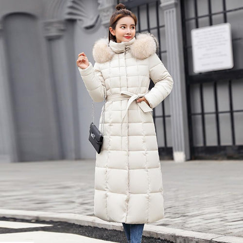 Slim Women Winter Jacket Cotton Padded Warm Thicken Long Coat SS0146