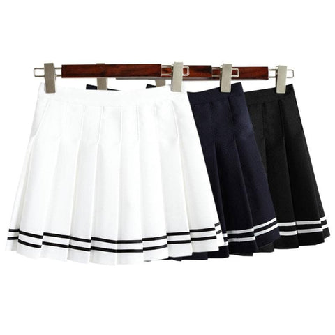XS-L White/Black/Navy Leisure Pleated Skirt SP166396