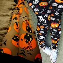 Load image into Gallery viewer, Yellow/Black Halloween Pumpkin Leggings Pants SP14309