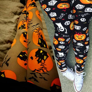Yellow/Black Halloween Pumpkin Leggings Pants SP14309
