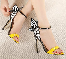 Load image into Gallery viewer, Yellow/Green/Silver Sweet Butterfly High Heel Sandals SP14079