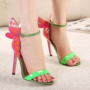 Yellow/Green/Silver Sweet Butterfly High Heel Sandals SP14079 - SpreePicky FreeShipping