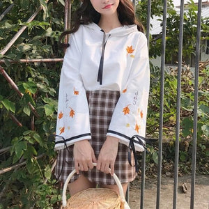 Yellow/Pink Maple Sakura Hoodie Jumper SP13582
