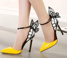 Load image into Gallery viewer, Yellow/Purple/Black Sweet Butterfly High Heel Sandals SP14082 - SpreePicky FreeShipping