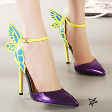 Load image into Gallery viewer, Yellow/Purple/Black Sweet Butterfly High Heel Sandals SP14082