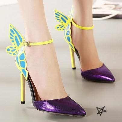 Yellow/Purple/Black Sweet Butterfly High Heel Sandals SP14082