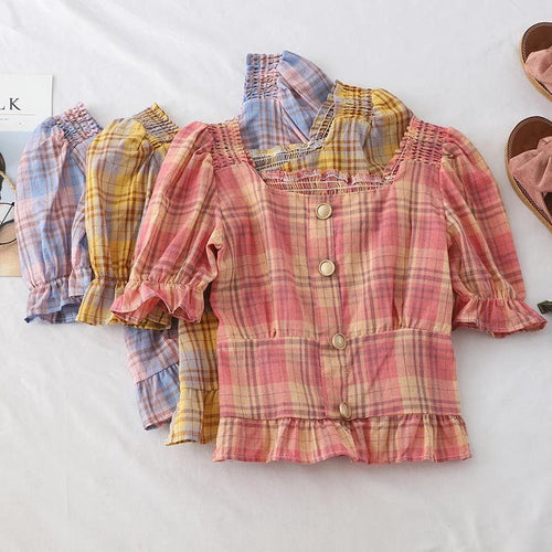 Yellow/Purple/Pink Falbala Vintage Grid Shirt SP14027
