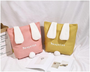 Yellow/White/Pink Kawaii Fluffy Ears Tail Canvas Shoulder Bag SP14374