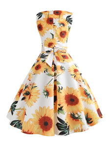 Yellow And White Sunflowers Dress SP13895