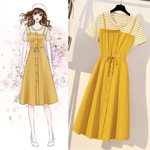 Yellow Stripe Button Laced Dress SP14075