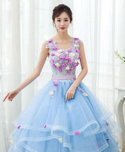 Load image into Gallery viewer, Sky Blue V Neck Tulle Long Prom Gown, Formal Dress - DelaFur Wholesale