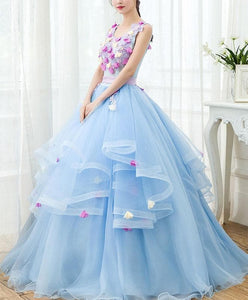 Sky Blue V Neck Tulle Long Prom Gown, Formal Dress - DelaFur Wholesale