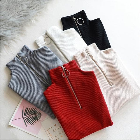 Zipper O Ring Turtleneck Solid Knitted Sweater SP13254