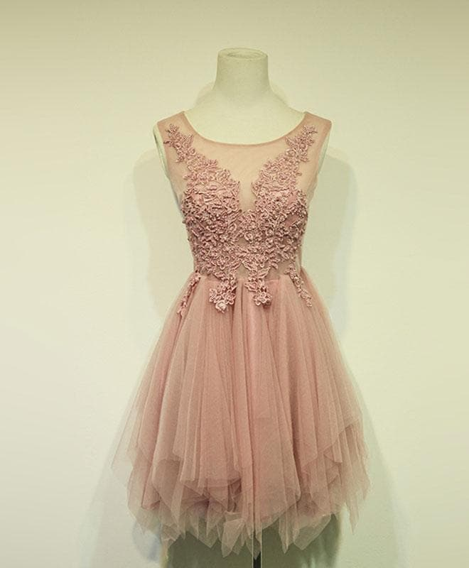 Pink Tulle Lace Short Prom Dress, Cheap Evening Dress - DelaFur Wholesale