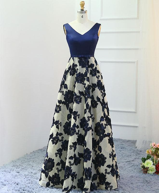 Stylish Dark Blue A-Line V Neck Long Prom Dress, Dark Blue Evening Dress - DelaFur Wholesale