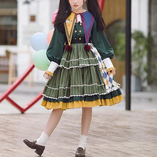 Clown Element Embroidery Contrast Color OP Lolita Dress SS1097