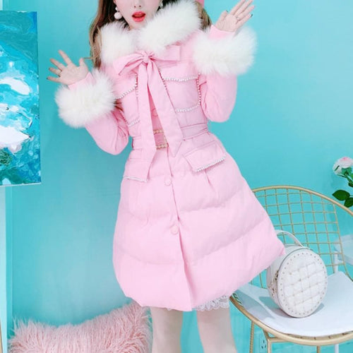 Black/Pink Slim Fluffy Coat SP14600
