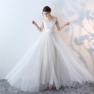 Elegant White Lace Tulle Long Prom Dress, White Evening Dress - DelaFur Wholesale