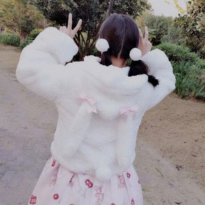 Lolita bowknot Rabbit Ear Puffy Sleeve Hoodie Jumper SP15176
