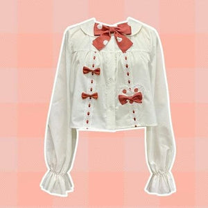 White Shirt Bow Tie with Red Dot Sweet Lolita SK Dress SS1087