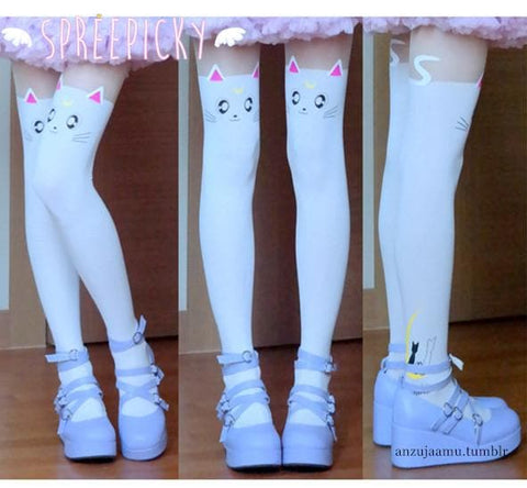 Screaming! Sailor Moon Luna Artemis Kitten with Tail on Back Legging Tights SP141305 - SpreePicky  - 3