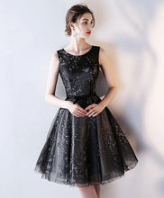 Load image into Gallery viewer, Black Tulle A Line Short Prom Dress, Homecoming Dress - DelaFur Wholesale