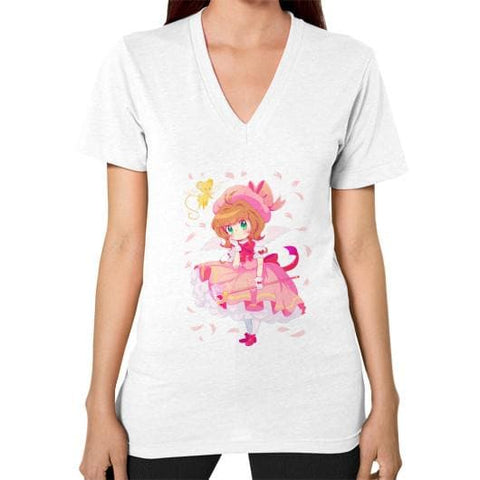 Wonderful Sakura V-Neck Woman Tee Shirt - SpreePicky  - 1