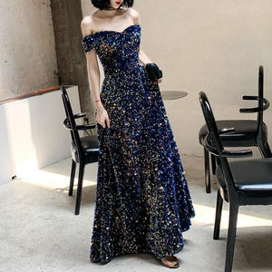 Navy Off Shoulder Sequined Dress SP14612 - SpreePicky FreeShipping