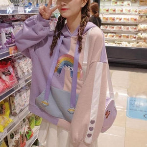 Unicorn Ears Wings Rainbow Love Heart Hoodie Pullover SS0787