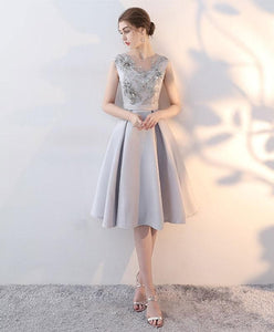 Gray Satin Lace Short Prom Dress, Homecoming Dress - DelaFur Wholesale
