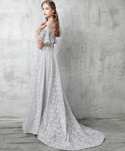 Gray Tulle Lace Long Prom Dress, Gray Evening Dresses - DelaFur Wholesale