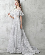 Load image into Gallery viewer, Gray Tulle Lace Long Prom Dress, Gray Evening Dresses - DelaFur Wholesale