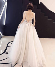 Load image into Gallery viewer, Champagne Lace Tulle Long Prom Dress - Harajuku Kawaii Fashion Anime Clothes Fashion Store - SpreePicky
