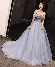 Load image into Gallery viewer, Gray Tulle Long Prom Dress, Gray Evening Dress - DelaFur Wholesale