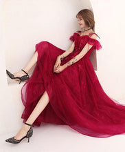 Load image into Gallery viewer, Burgundy Lace Tulle Long Prom Dress, Lace Evening Dress - Harajuku Kawaii Fashion Anime Clothes Fashion Store - SpreePicky