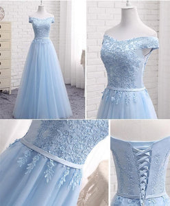 Sky Blue A Line Lace Off Shoulder Prom Dress, Lace Evening Dresses - DelaFur Wholesale