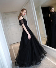 Load image into Gallery viewer, Unique Black High Neck Tulle Long Prom Dress, Black Evening Dress - DelaFur Wholesale