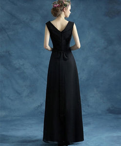 Simple Black V Neck Chiffon Long Prom Dress, Black Eveing Dress - DelaFur Wholesale