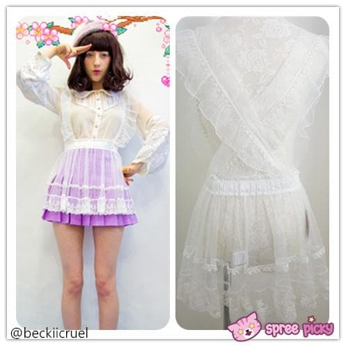 [Apinko Design] Transparent Lace Maid Strap Dress Petticoat Apron SP140952 - SpreePicky  - 1