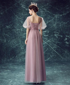 Pink Round Neck Tulle Long Prom Dress, Pink Evening Dress - DelaFur Wholesale