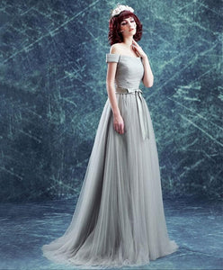 Gray Tulle Off Shoulder Long Prom Dress, Evening Dress - DelaFur Wholesale