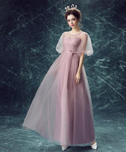 Load image into Gallery viewer, Pink Round Neck Tulle Long Prom Dress, Pink Evening Dress - DelaFur Wholesale