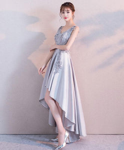 Gray Lace Satin High Low Prom Dress, Lace Evening Dress - DelaFur Wholesale