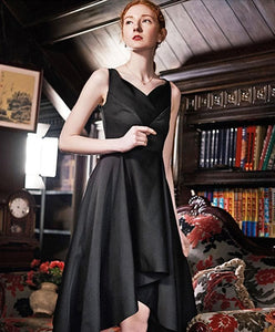 Stylish Black V Neck Irregular Short Prom Dress, Homecoming Dress - DelaFur Wholesale