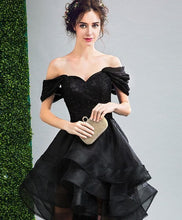 Load image into Gallery viewer, Black High Low Prom Dress, Black Evening Dress - DelaFur Wholesale