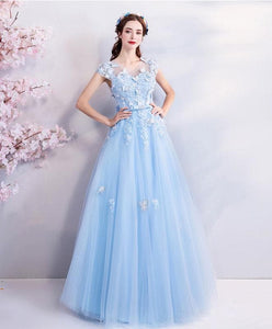 Sky Blue Lace Tulle Long Prom Dress, Blue Evening Dress - DelaFur Wholesale