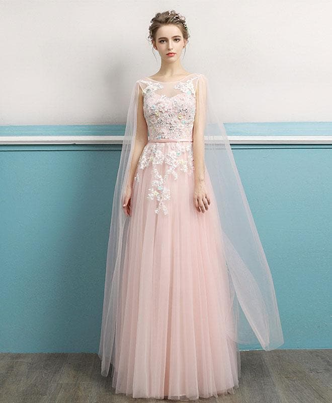 Pink Round Neck Lace Long Prom Dress, Lace Evening Dress - DelaFur Wholesale