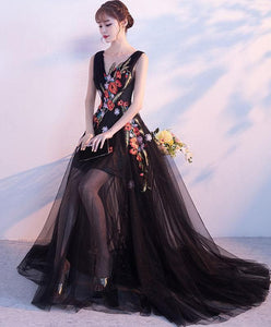 Black V Neck Tulle Long Prom Dress, Black Evening Dress - DelaFur Wholesale