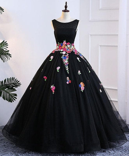 Black Tulle Long Prom Gown, Black Evening Dress - DelaFur Wholesale